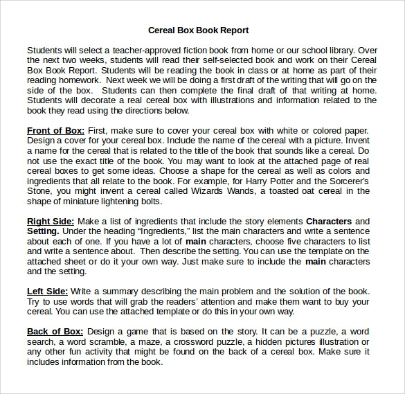 cereal box book report  u2013 11  free samples  examples  u0026 formats