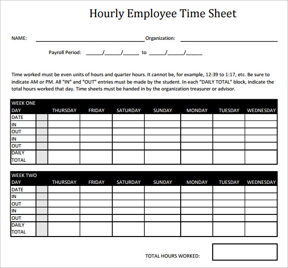 hourly employee timesheet calculator