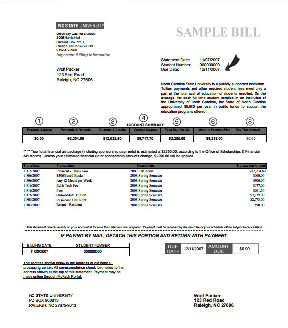 example billing statement template free