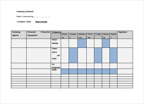 Sample Cleaning Schedule 8 Documents In PDF Word – Sample Cleaning Schedule Template