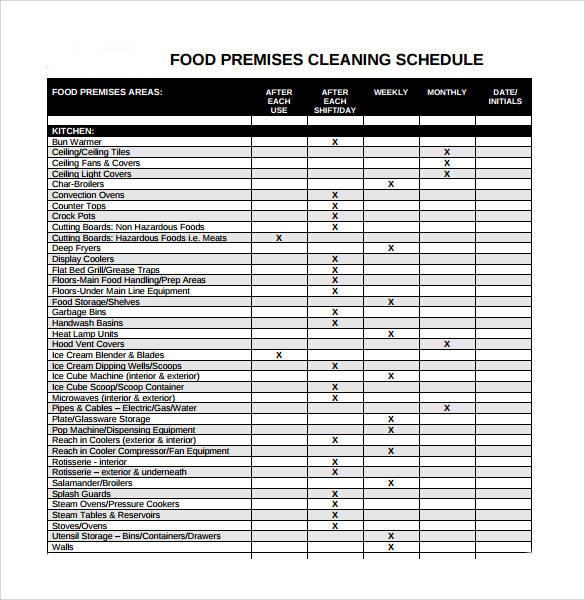 Free 21 Sample Cleaning Schedules In Pdf Ms Word