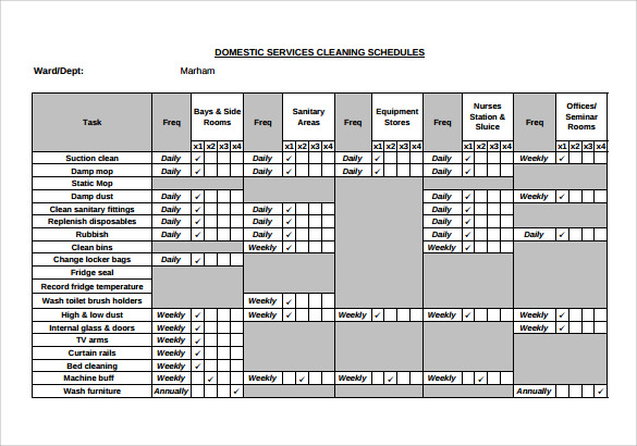 domestic cleaning schedule template - 9 cleaning schedule samples sample templates