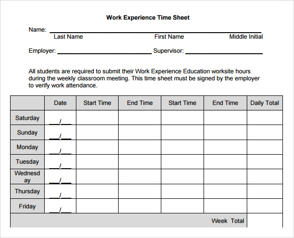 Sample Work Timesheet Calculator 10 Documents In PDF Word – Sample Work Timesheet Calculator