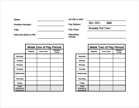 47 timesheet templates free sample example format