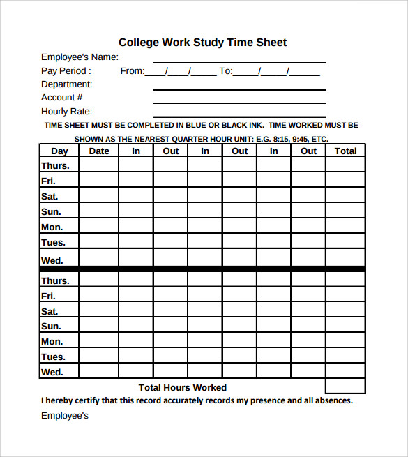 Sample Work Timesheet Calculator 10 Documents In PDF Word – Hours Worked Calculator