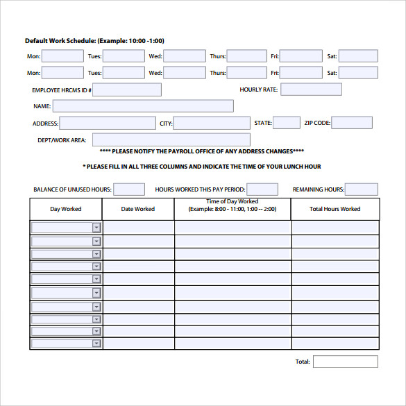 Sample Work Timesheet Calculator   Documents In Pdf Word