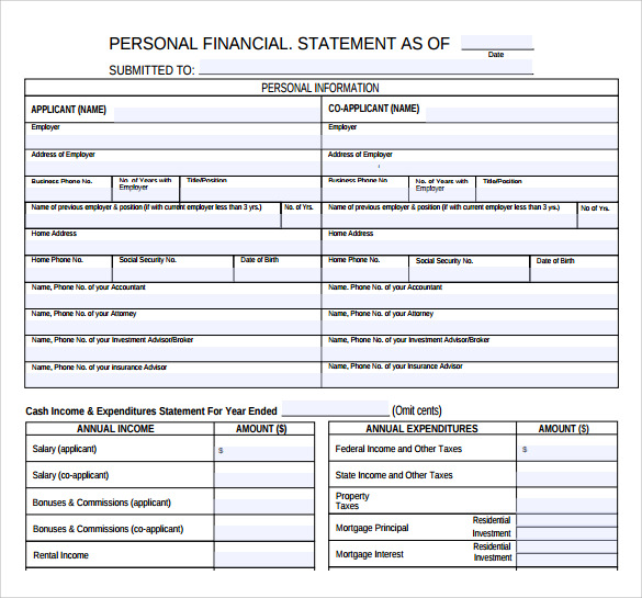 Personal Financial Statement   Documents In Pdf Word