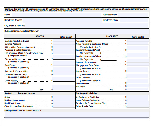Personal Financial Statement 11 Documents In PDF Word – Sample Personal Financial Statement Form