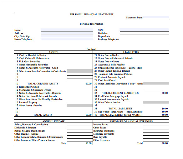 Beautiful Sample Financial Statement Contemporary - Office Resume ...