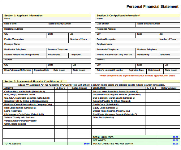 What is included in a personal financial statement