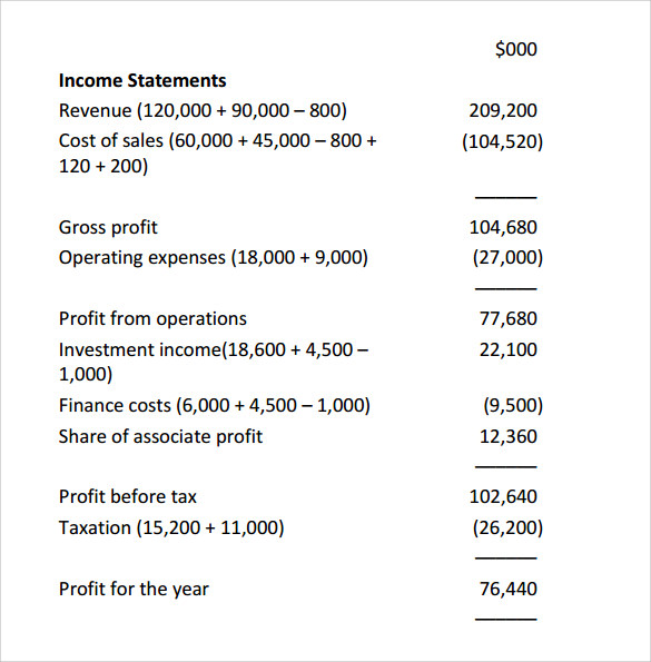 Sample Income Statement   Free Documents In  Word
