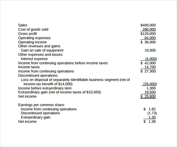 Income Statement Example. Traditional Income Statement | Letter
