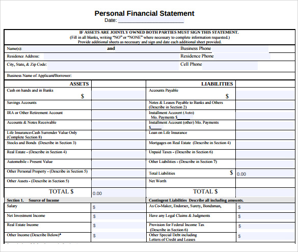 free 11  personal financial statement templates in pdf