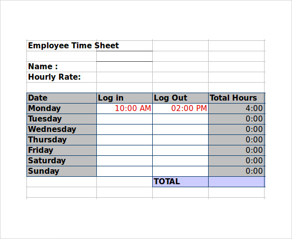 employee timesheet calculator 10 samples examples formats