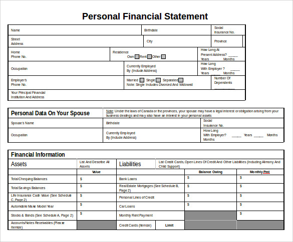 word download personal financial statement