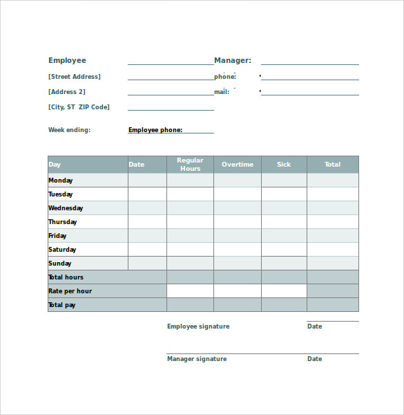 Employee Timesheet Calculator 10 Samples Examples Formats – Sample Payroll Timesheet Calculator