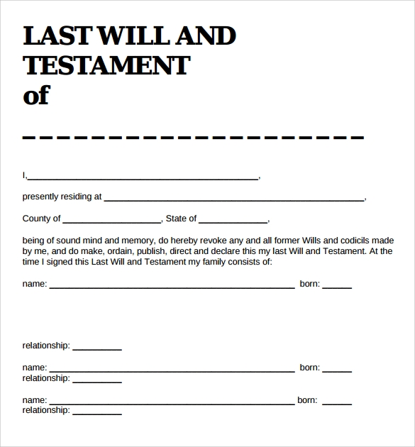 Sample Last Will And Testament Form   Example Format