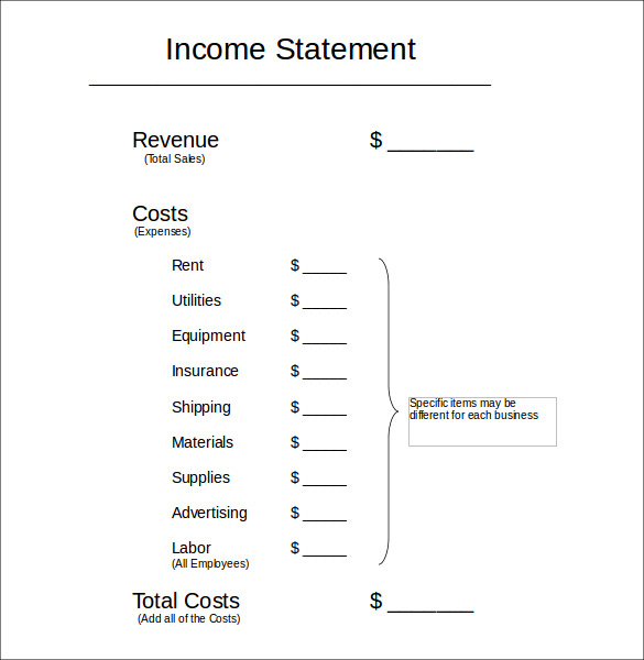 income statement example2