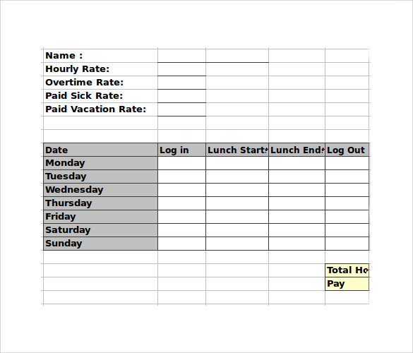 Employee Timesheet Calculator    Samples  Examples  Formats
