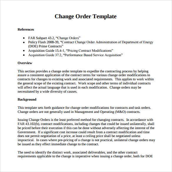 Sample Change Order – 11+ Documents In PDF, WOrd