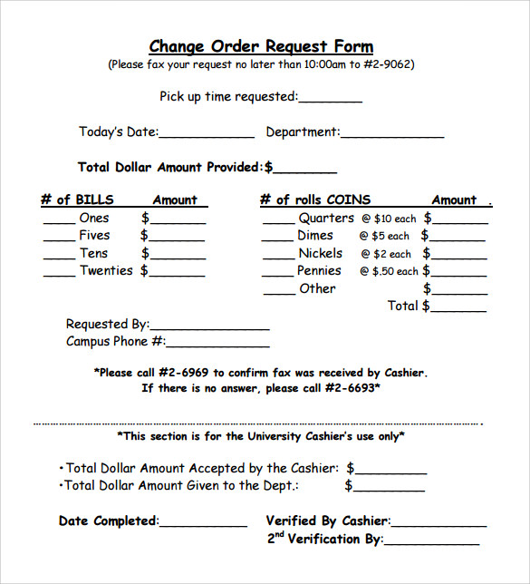 11 change order samples sample templates change order form template spiritdancerdesigns Images