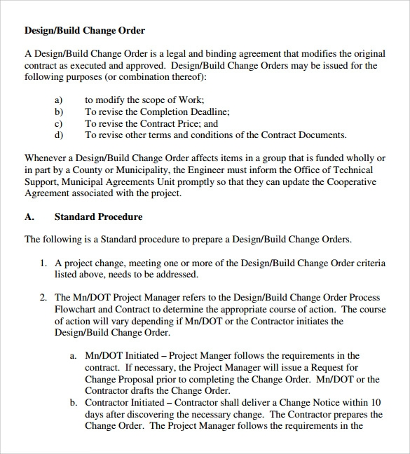 Sample Change Order   Documents In Pdf Word