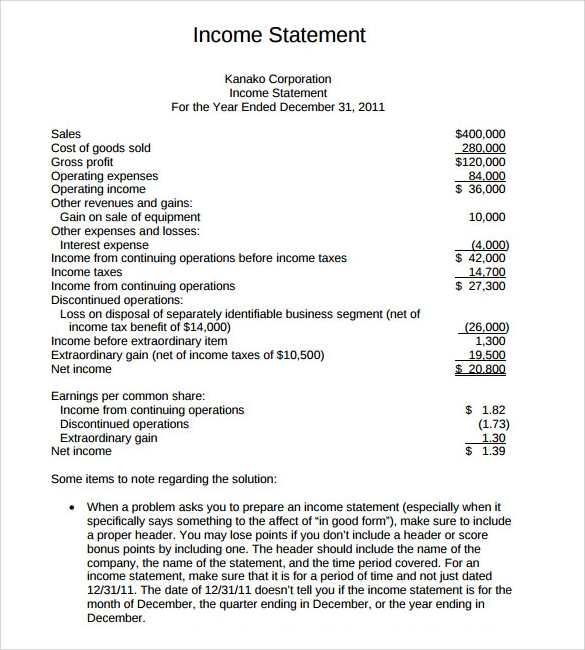 9 Income Statement Format Templates To Download For Free