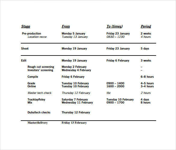 10 production schedule templates free sample example format