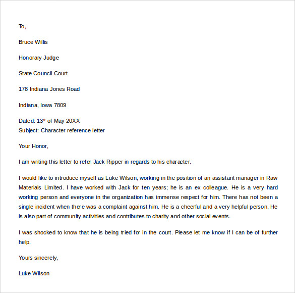 Sample Character Reference Letter Template - 8+ Free Documents