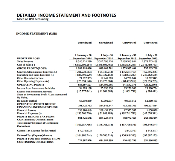 Sample Income Statement Format   Download Documents In Pdf Word