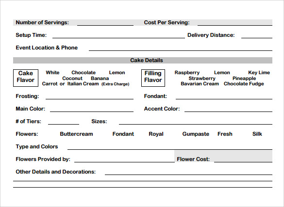 Cake Order Form Template 10 Free Samples Examples Formats – Cake Order Forms