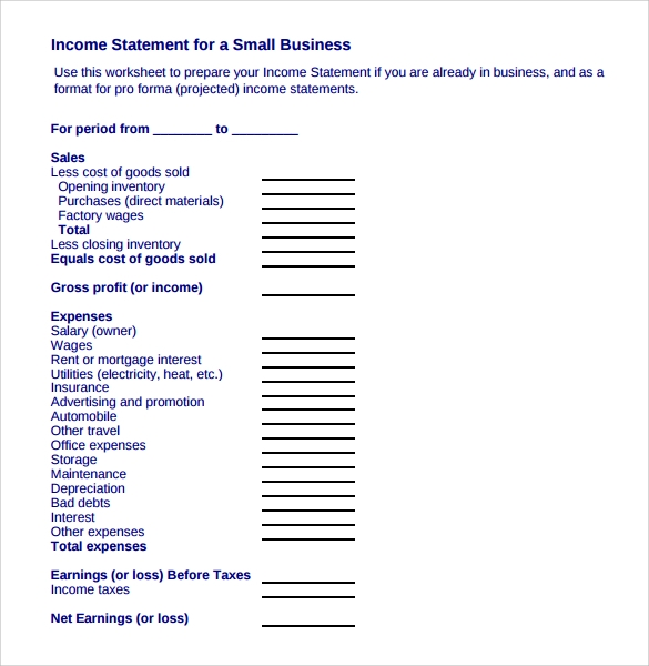 income statement for a small business
