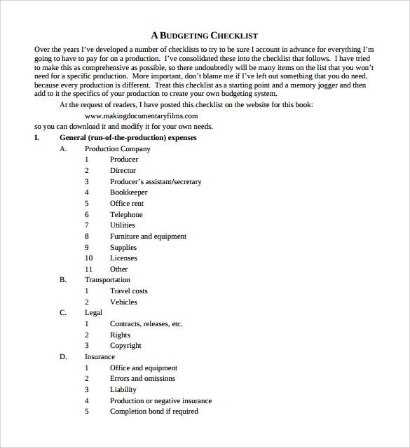 film budget checklist