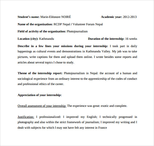Sample Internship Report Template   Free Documents Download In