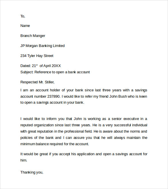 sample personal bank reference letter
