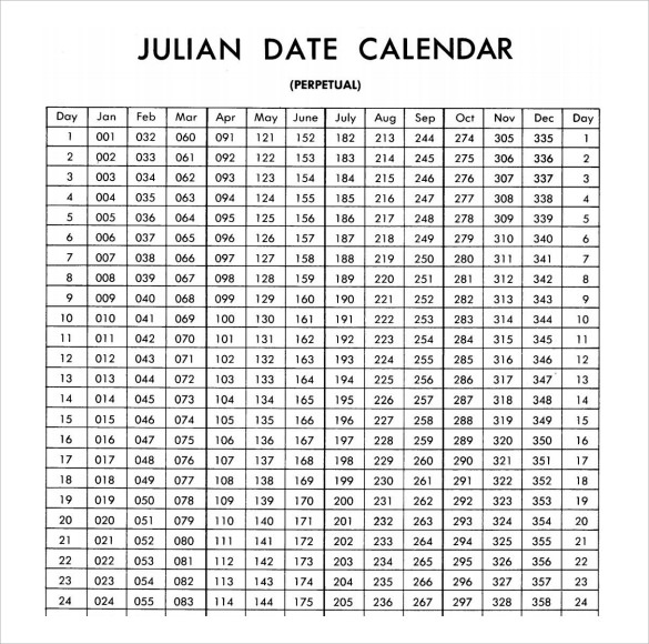 Julian Year Calendar 2016 | Calendar Template 2016