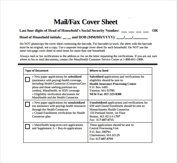 Sample Masshealth Fax Cover Sheet Format Of Personal Monogram