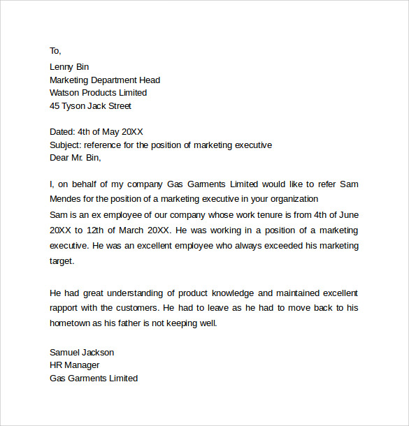 Personal Reference Letter To Company  Character Reference Letter For Employee