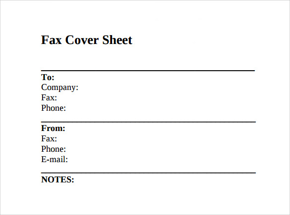 Simple Fax Cover Sheet - Template