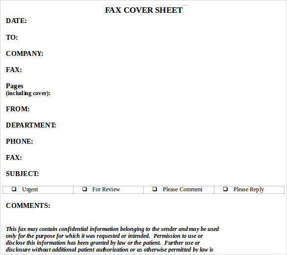 word download fax cover sheet