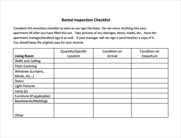 14 inspection checklist samples sample templates for Rental property inspection checklist template