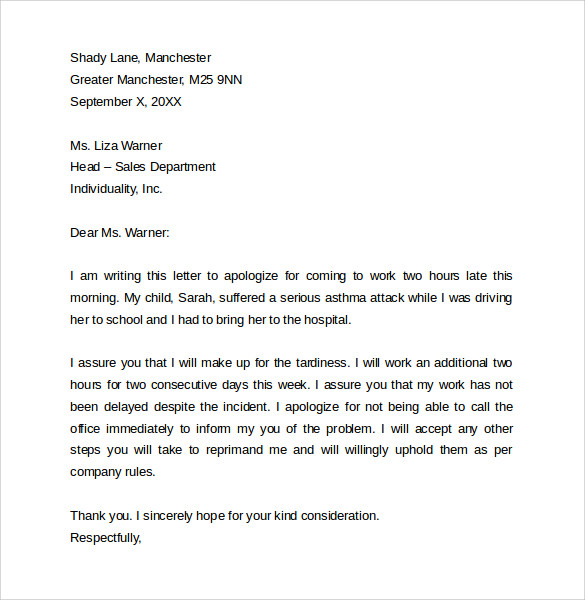 Sample Apology Letter for Being Late 8 Free Documents to Download – Example Apology Letter