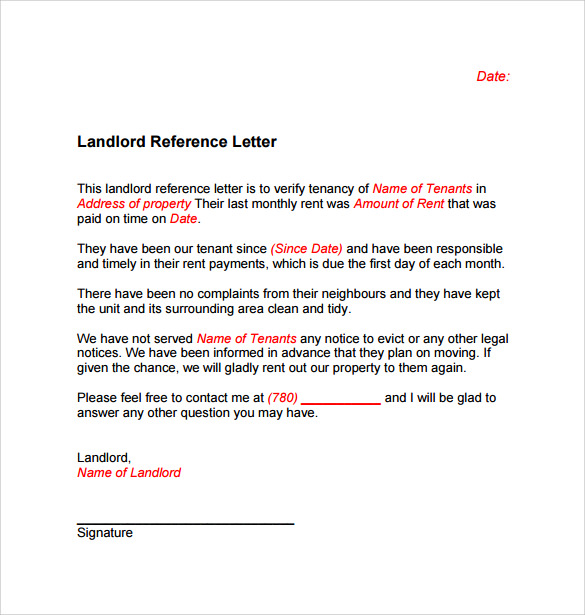Landlord Reference Letter Template   Samples  Examples  Formats