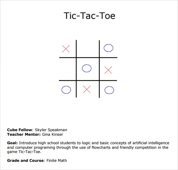 Sample Tic Tac Toe Template Holesthenovel Activities Lesson