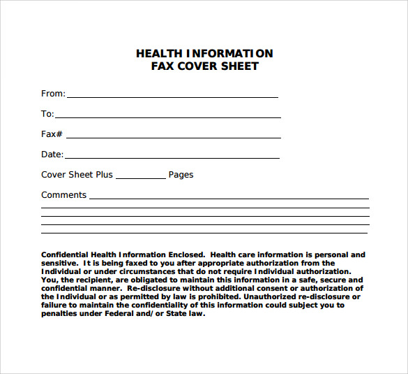 health information fax cover sheet1