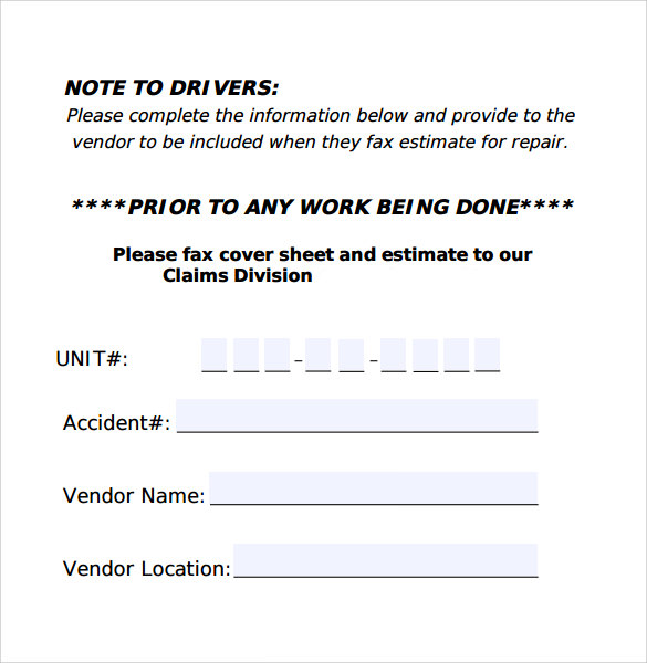 claims division fax cover sheet for accidents