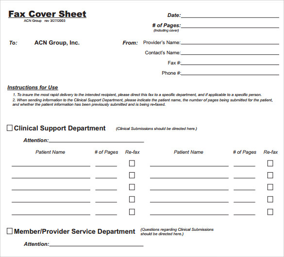 Sample General Fax Cover Sheet   Documents In Pdf Word
