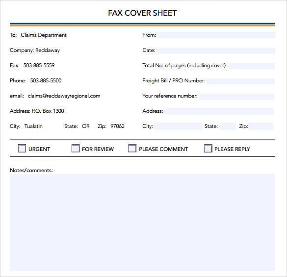 sample general fax cover sheet