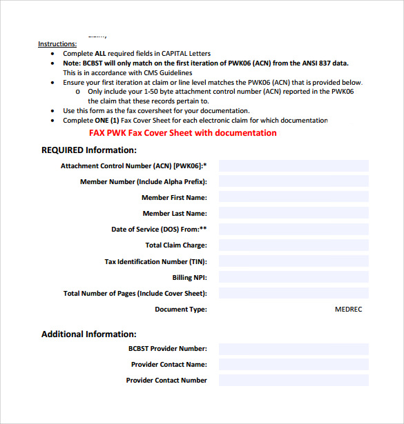 fax cover sheet with documentation
