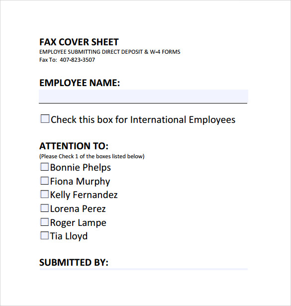 fax cover sheet direct deposits